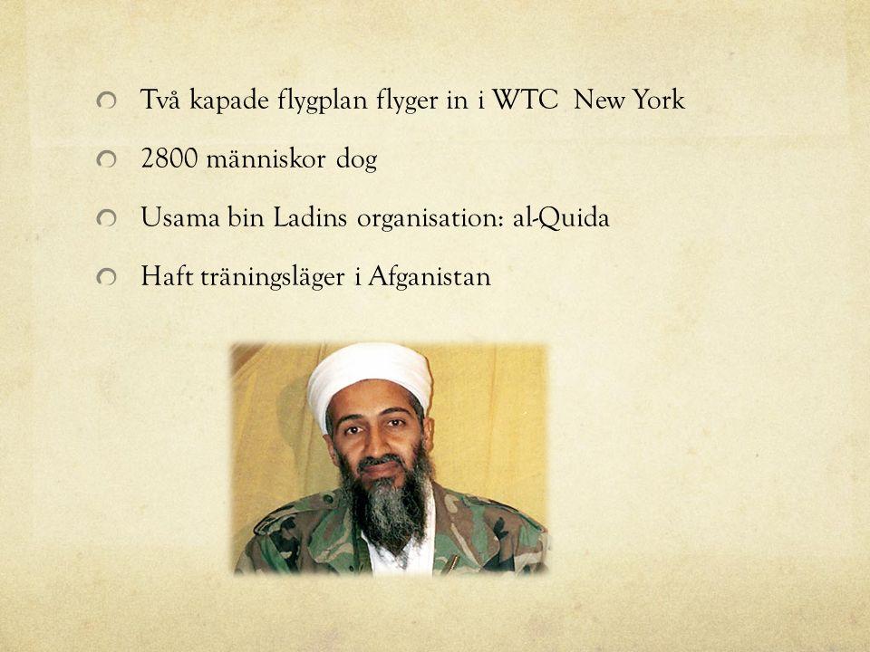 Två kapade flygplan flyger in i WTC New York 2800 människor dog Usama bin Ladins organisation: al-Quida Haft träningsläger i Afganistan