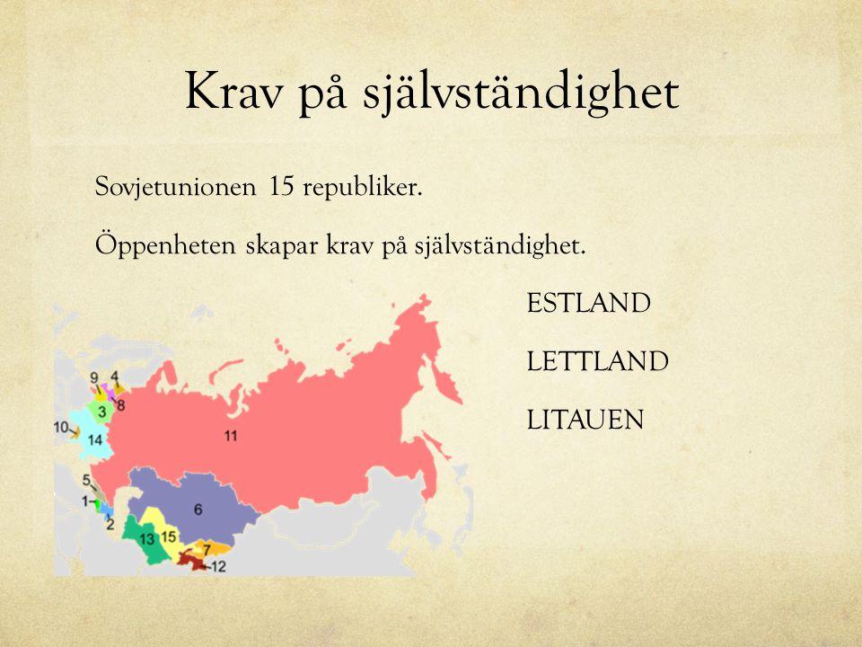 Krav på självständighet Sovjetunionen 15 republiker. Öppenheten skapar krav på självständighet. ESTLAND LETTLAND LITAUEN