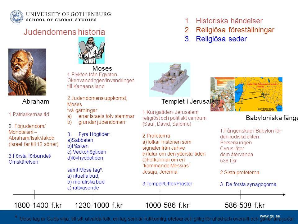 www.gu.se Judendomens historia 1.Historiska händelser 2.Religiösa föreställningar 3.Religiösa seder 1800-1400 f.kr1230-1000 f.kr1000-586 f.kr586-538 f.kr 1.Patriarkernas tid 2.
