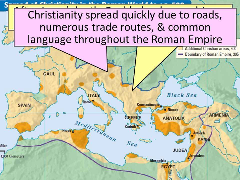 www.gu.se After Jesus' death, Paul helped spread Jesus teachings throughout the Roman Empire Christianity spread quickly due to roads, numerous trade routes, & common language throughout the Roman Empire