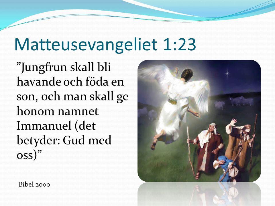 Matteusevangeliet 1:23 Jungfrun skall bli havande och föda en son, och man skall ge honom namnet Immanuel (det betyder: Gud med oss) Bibel 2000