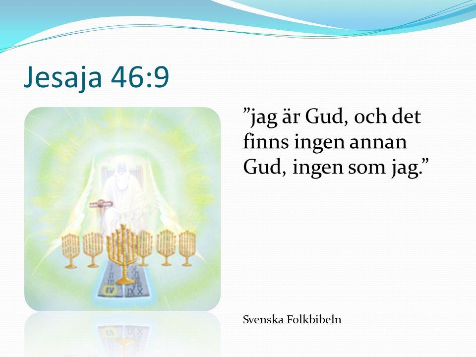 Jesaja 46:9 jag är Gud, och det finns ingen annan Gud, ingen som jag. Svenska Folkbibeln