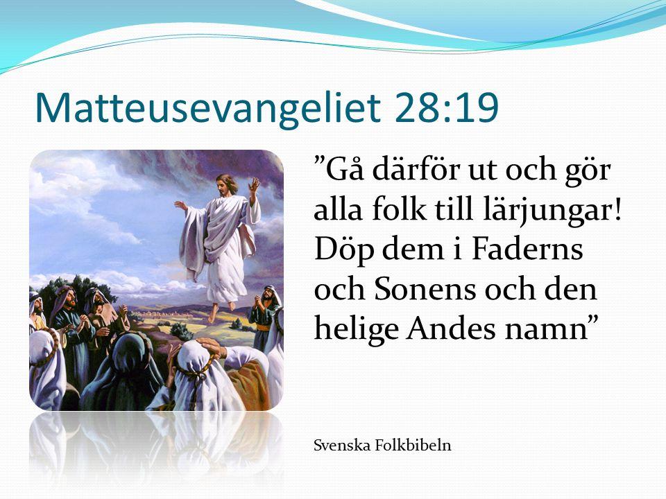 Matteusevangeliet 28:19 Gå därför ut och gör alla folk till lärjungar.