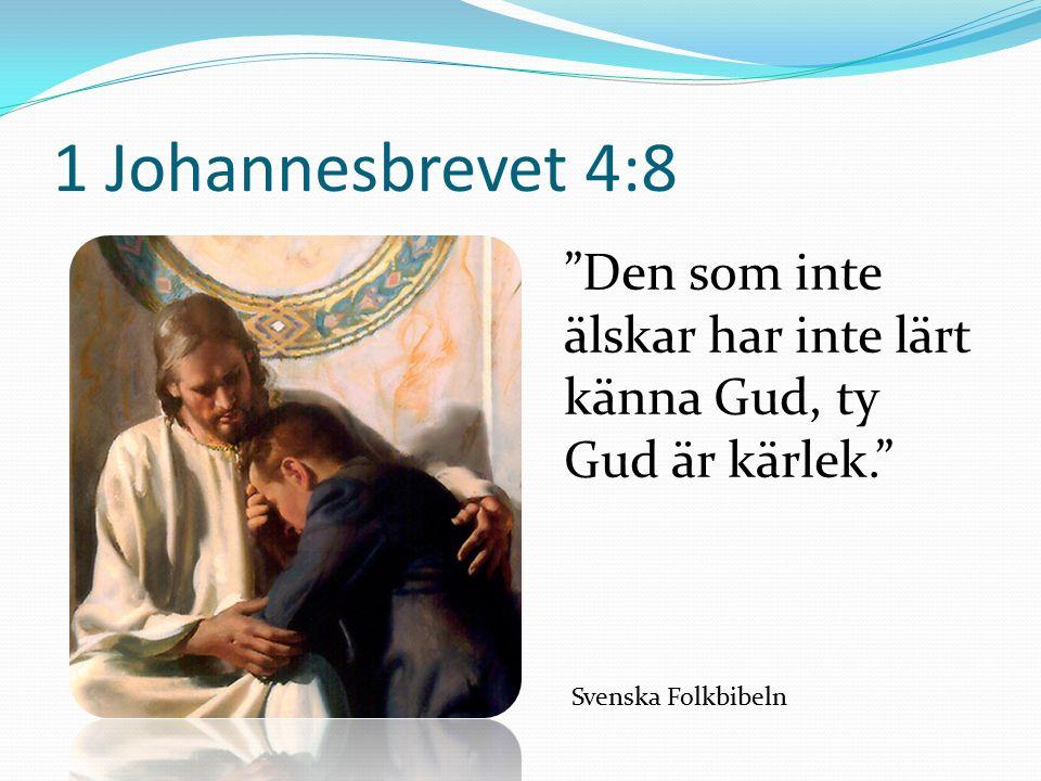 1 Johannesbrevet 4:8 Den som inte älskar har inte lärt känna Gud, ty Gud är kärlek. Svenska Folkbibeln