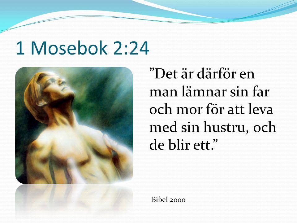 1 Mosebok 2:24 Det är därför en man lämnar sin far och mor för att leva med sin hustru, och de blir ett. Bibel 2000