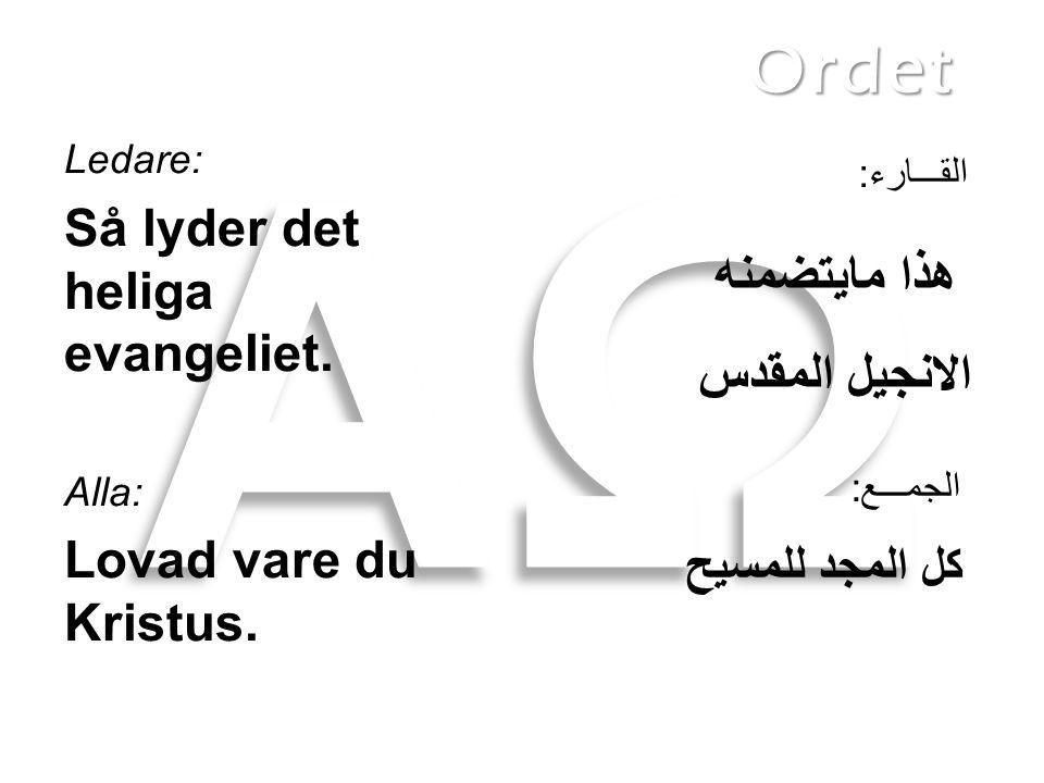 Ledare: Så lyder det heliga evangeliet. Alla: Lovad vare du Kristus. هذا مايتضمنه الانجيل المقدس كل المجد للمسيح Ordet الجمـــع: القـــارء: