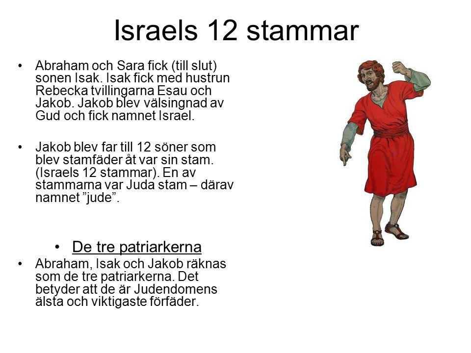Israels 12 stammar Abraham och Sara fick (till slut) sonen Isak. Isak fick med hustrun Rebecka tvillingarna Esau och Jakob. Jakob blev välsingnad av G