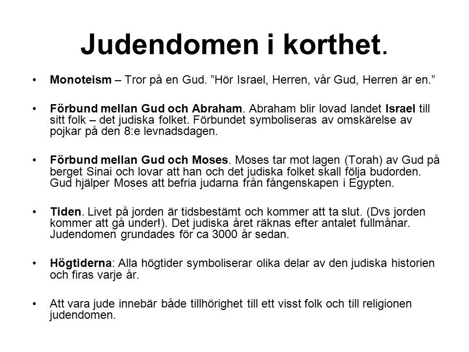 """Judendomen i korthet. Monoteism – Tror på en Gud. """"Hör Israel, Herren, vår Gud, Herren är en."""" Förbund mellan Gud och Abraham. Abraham blir lovad land"""