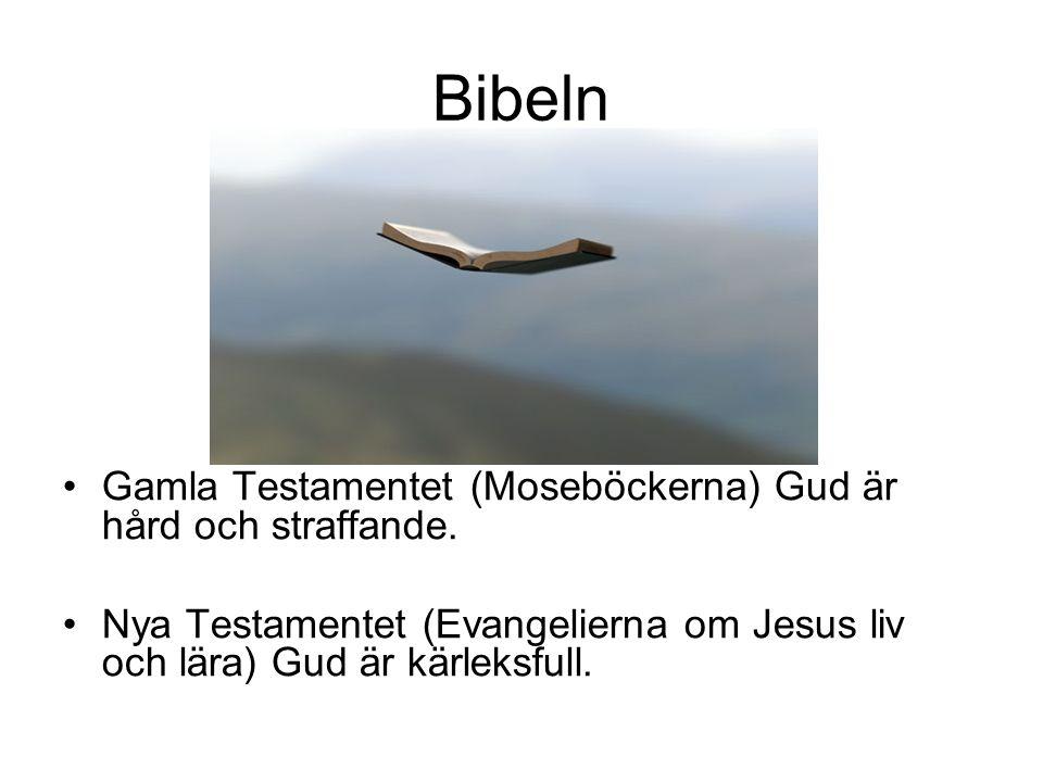 Bibeln Gamla Testamentet (Moseböckerna) Gud är hård och straffande. Nya Testamentet (Evangelierna om Jesus liv och lära) Gud är kärleksfull.