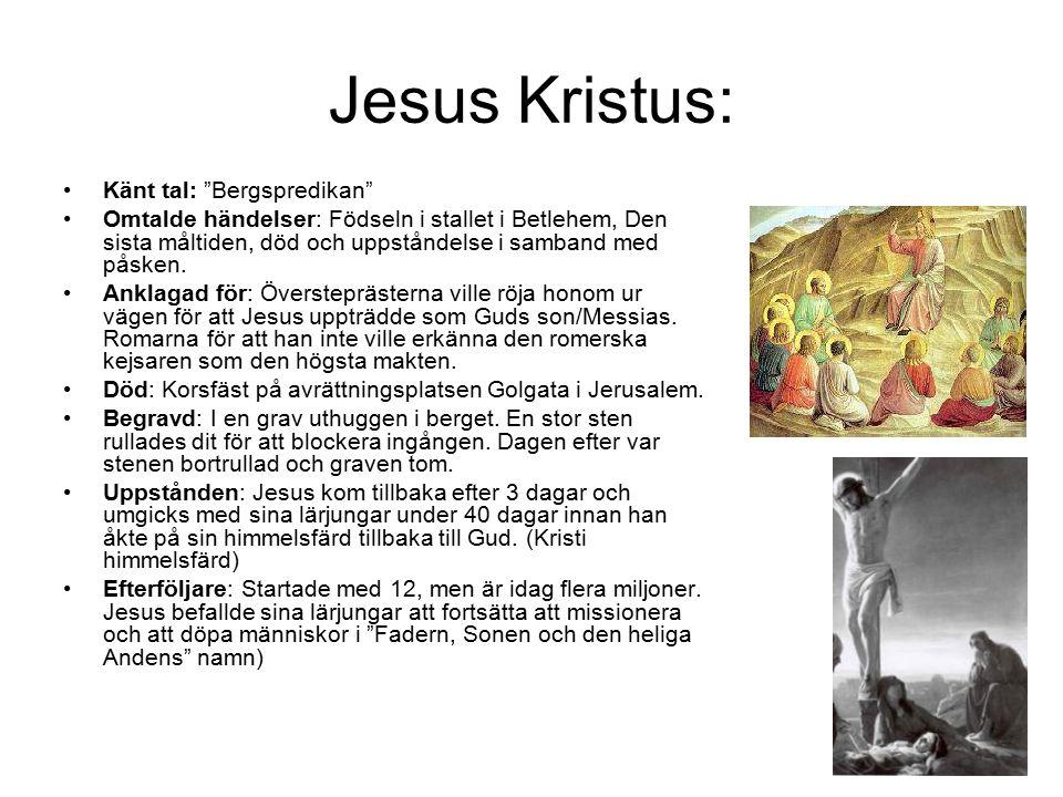 """Jesus Kristus: Känt tal: """"Bergspredikan"""" Omtalde händelser: Födseln i stallet i Betlehem, Den sista måltiden, död och uppståndelse i samband med påske"""