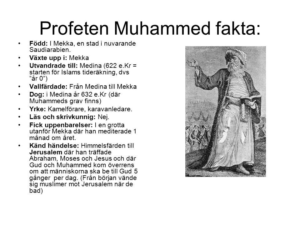 Profeten Muhammed fakta: Född: I Mekka, en stad i nuvarande Saudiarabien. Växte upp i: Mekka Utvandrade till: Medina (622 e.Kr = starten för Islams ti