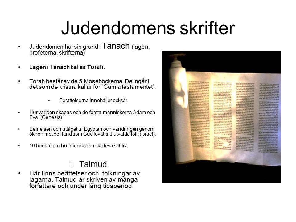 Judendomens skrifter Judendomen har sin grund i Tanach (lagen, profeterna, skrifterna) Lagen i Tanach kallas Torah. Torah består av de 5 Moseböckerna.