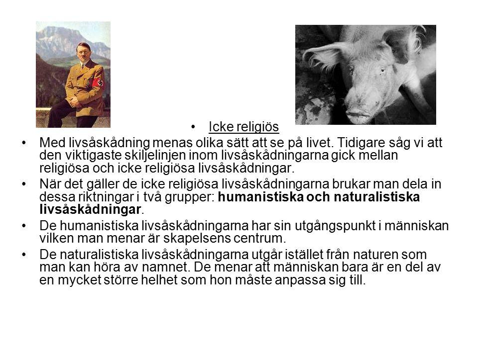 Icke religiös Med livsåskådning menas olika sätt att se på livet.