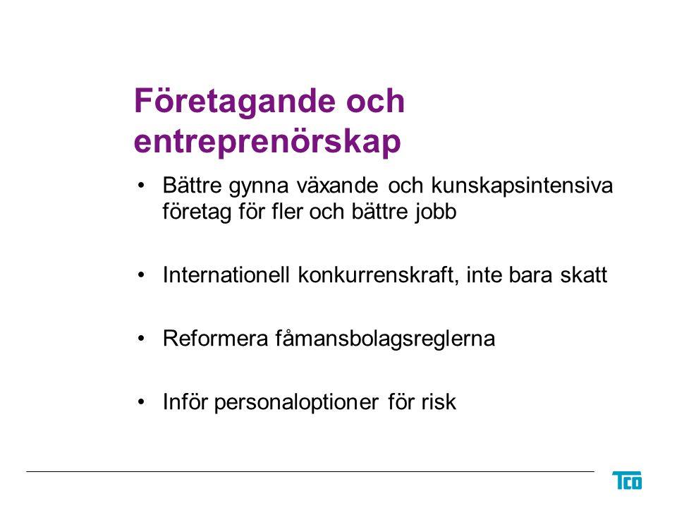 Företagande och entreprenörskap Bättre gynna växande och kunskapsintensiva företag för fler och bättre jobb Internationell konkurrenskraft, inte bara skatt Reformera fåmansbolagsreglerna Inför personaloptioner för risk