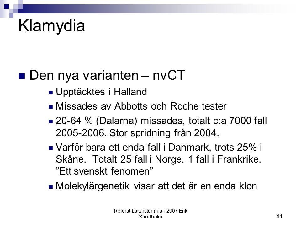 Referat Läkarstämman 2007 Erik Sandholm11 Klamydia Den nya varianten – nvCT Upptäcktes i Halland Missades av Abbotts och Roche tester 20-64 % (Dalarna) missades, totalt c:a 7000 fall 2005-2006.