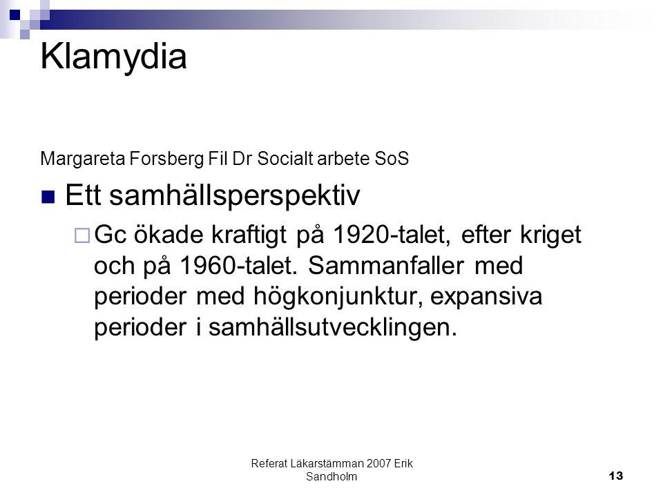 Referat Läkarstämman 2007 Erik Sandholm13 Klamydia Margareta Forsberg Fil Dr Socialt arbete SoS Ett samhällsperspektiv  Gc ökade kraftigt på 1920-talet, efter kriget och på 1960-talet.