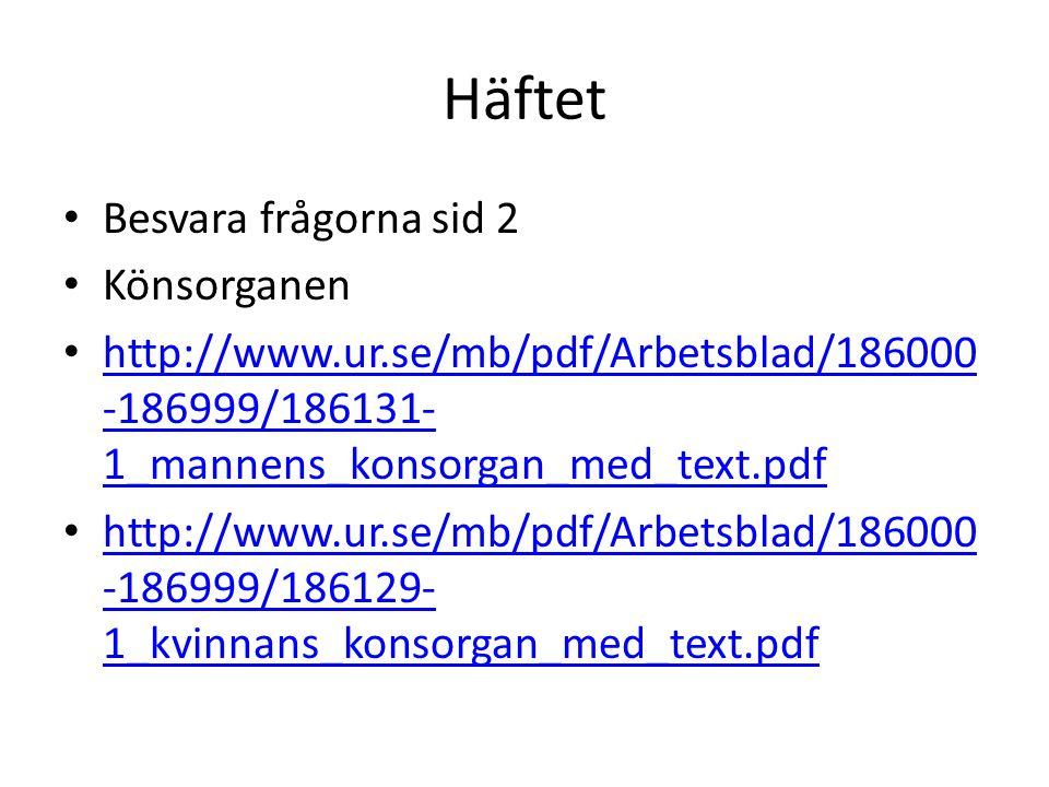 Häftet Besvara frågorna sid 2 Könsorganen http://www.ur.se/mb/pdf/Arbetsblad/186000 -186999/186131- 1_mannens_konsorgan_med_text.pdf http://www.ur.se/