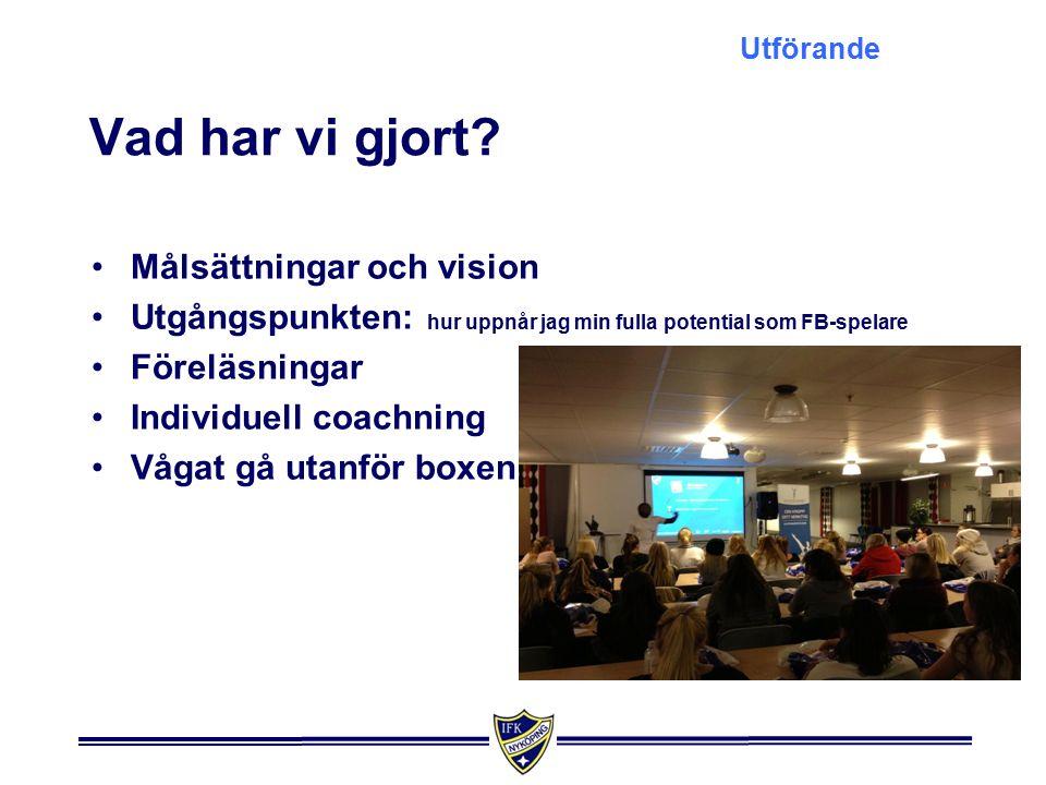 Målen var följande Mål och vision Att vid årets slut ha minst 90 % av de som startade säsongen motiverade till en fortsättning som spelare i IFK Nyköping 2014.