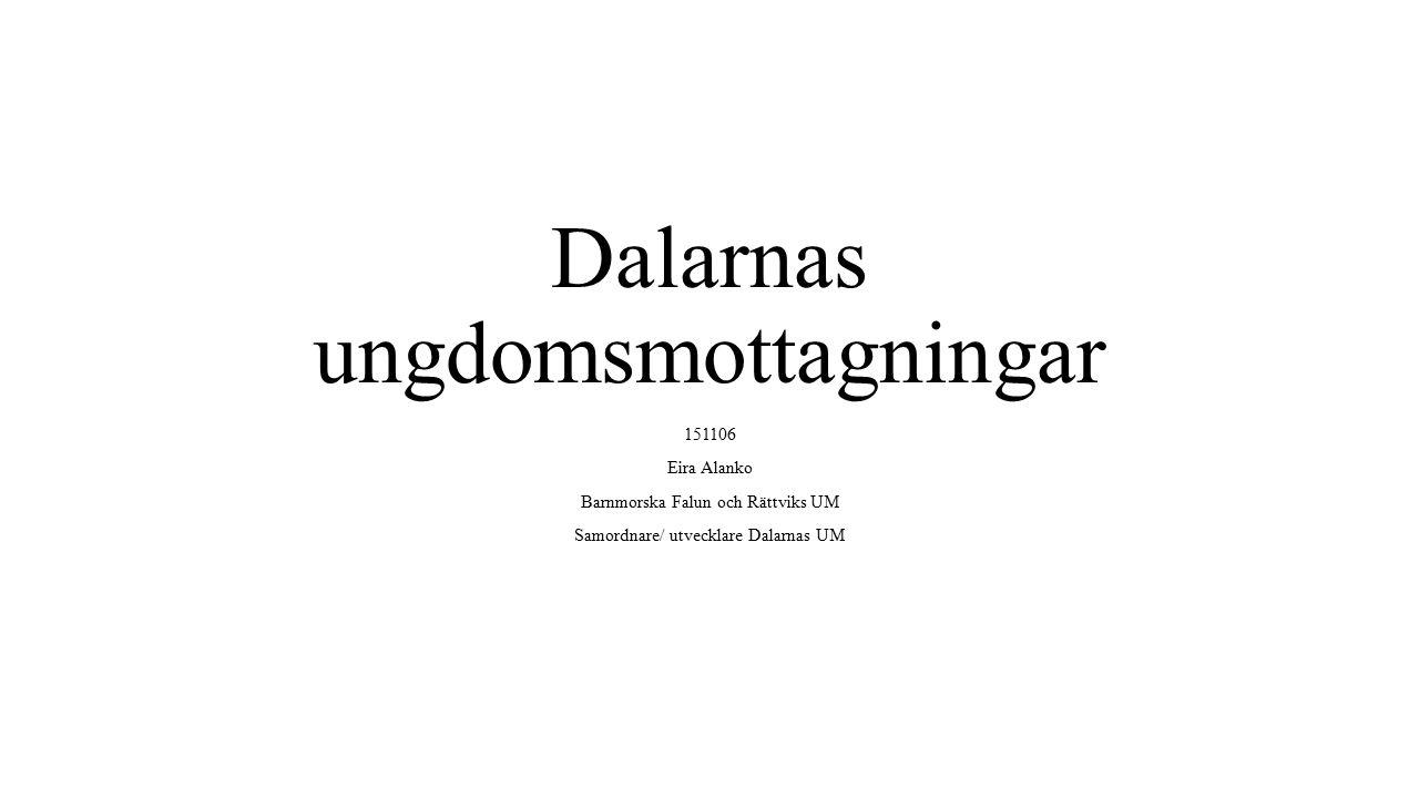 Dalarnas ungdomsmottagningar 151106 Eira Alanko Barnmorska Falun och Rättviks UM Samordnare/ utvecklare Dalarnas UM