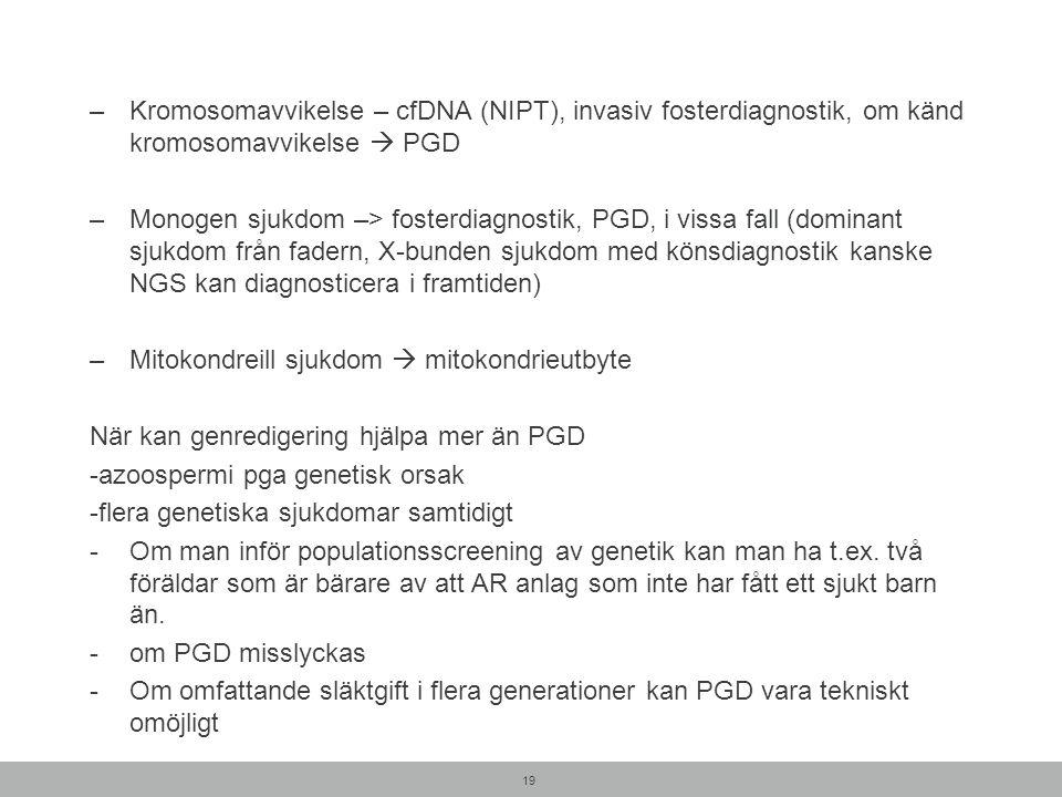 –Kromosomavvikelse – cfDNA (NIPT), invasiv fosterdiagnostik, om känd kromosomavvikelse  PGD –Monogen sjukdom –> fosterdiagnostik, PGD, i vissa fall (dominant sjukdom från fadern, X-bunden sjukdom med könsdiagnostik kanske NGS kan diagnosticera i framtiden) –Mitokondreill sjukdom  mitokondrieutbyte När kan genredigering hjälpa mer än PGD -azoospermi pga genetisk orsak -flera genetiska sjukdomar samtidigt -Om man inför populationsscreening av genetik kan man ha t.ex.