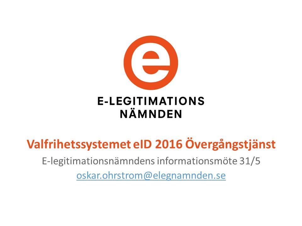 Valfrihetssystemet eID 2016 Övergångstjänst E-legitimationsnämndens informationsmöte 31/5 oskar.ohrstrom@elegnamnden.se