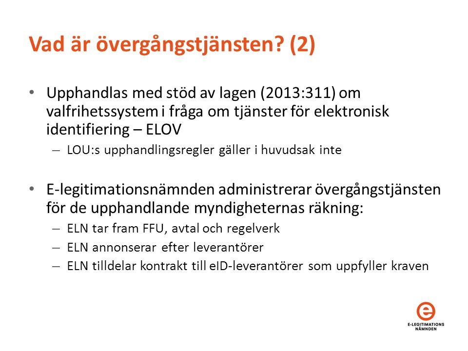Vad är övergångstjänsten? (2) Upphandlas med stöd av lagen (2013:311) om valfrihetssystem i fråga om tjänster för elektronisk identifiering – ELOV – L
