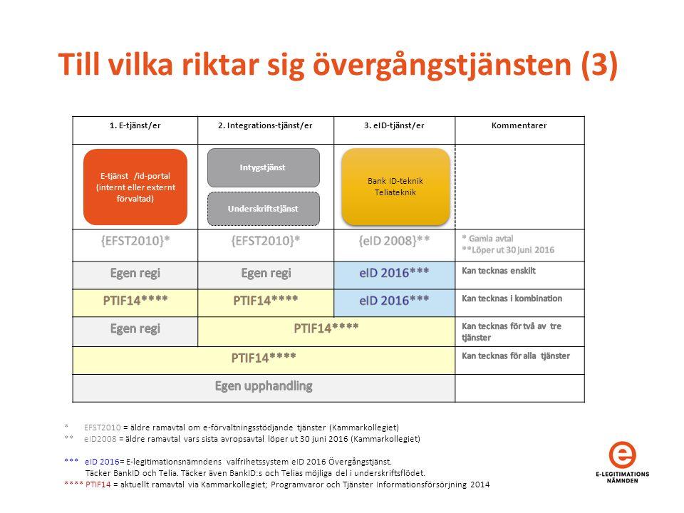 Till vilka riktar sig övergångstjänsten (3) 1. E-tjänst/er2. Integrations-tjänst/er3. eID-tjänst/erKommentarer E-tjänst /id-portal (internt eller exte