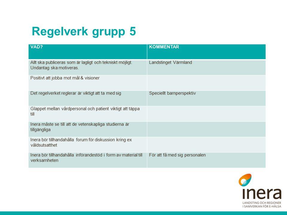 Regelverk grupp 5 VAD KOMMENTAR Allt ska publiceras som är lagligt och tekniskt möjligt.