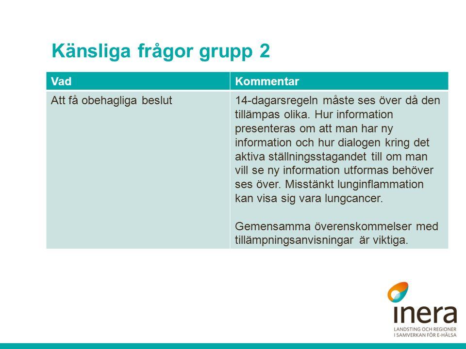 Känsliga frågor grupp 2 VadKommentar Att få obehagliga beslut14-dagarsregeln måste ses över då den tillämpas olika.