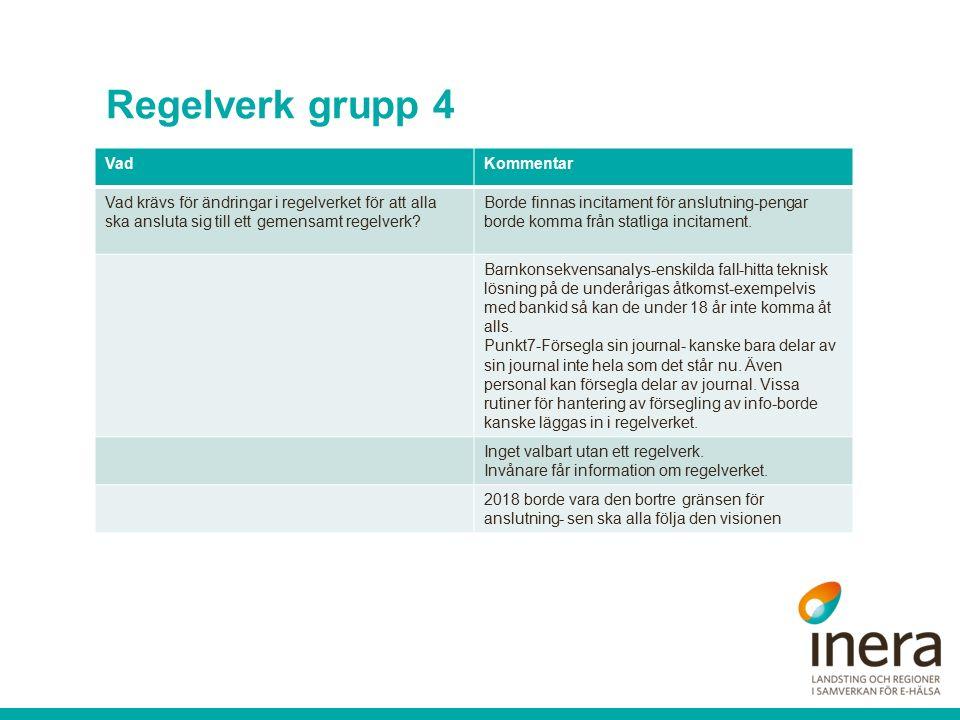 Regelverk grupp 4 VadKommentar Vad krävs för ändringar i regelverket för att alla ska ansluta sig till ett gemensamt regelverk.
