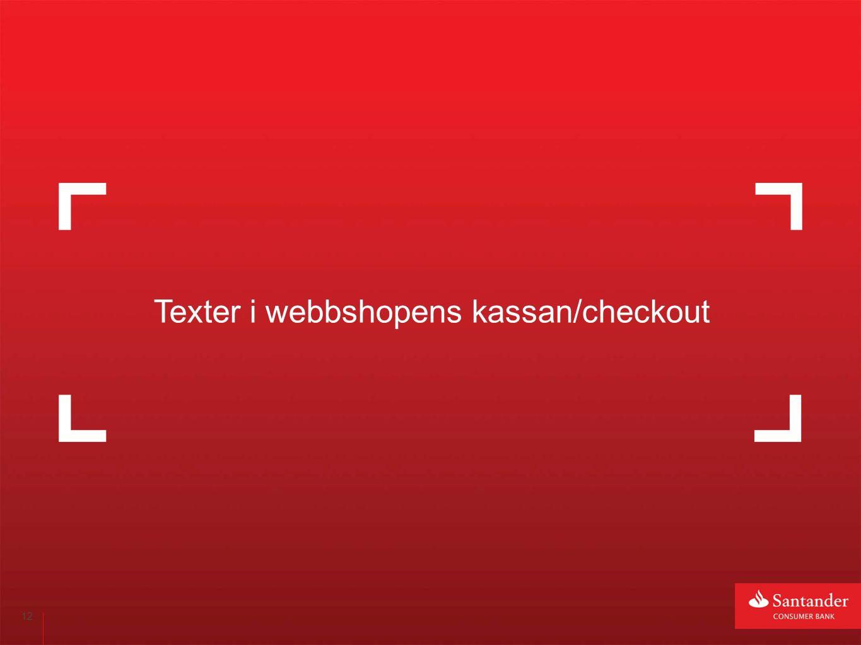 12 Texter i webbshopens kassan/checkout