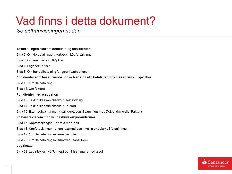 4 Texter för de klienter som har en egen sida om Delbetalning/MKTK