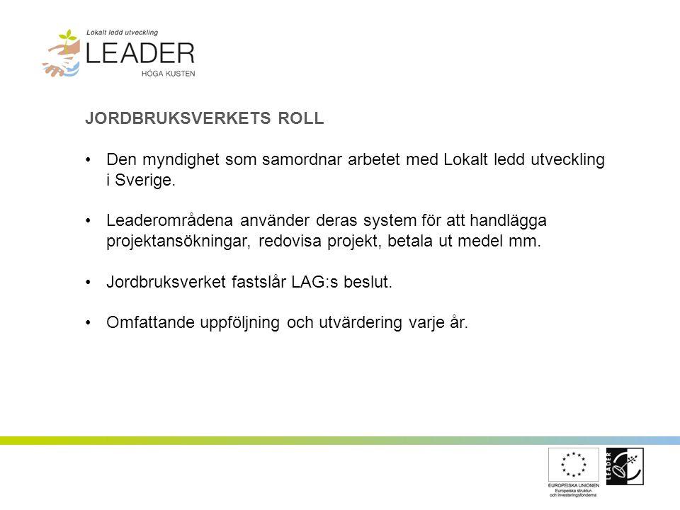 JORDBRUKSVERKETS ROLL Den myndighet som samordnar arbetet med Lokalt ledd utveckling i Sverige. Leaderområdena använder deras system för att handlägga