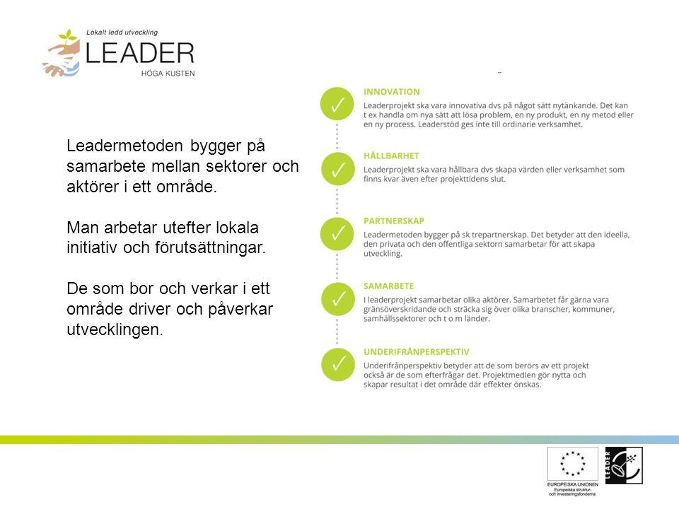 FÖRENING OCH LAG Leader Höga Kusten omfattar kommunerna Härnösand, Kramfors, Sollefteå och Örnsköldsvik Ett partnerskap mellan ideell, privat och offentlig sektor och till formen en ideell förening Leds av en styrelse på 15 personer, en sk LAG-grupp (Local Action Group).