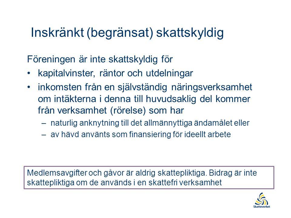 Inskränkt (begränsat) skattskyldig Föreningen är inte skattskyldig för kapitalvinster, räntor och utdelningar inkomsten från en självständig näringsverksamhet om intäkterna i denna till huvudsaklig del kommer från verksamhet (rörelse) som har –naturlig anknytning till det allmännyttiga ändamålet eller –av hävd använts som finansiering för ideellt arbete Medlemsavgifter och gåvor är aldrig skattepliktiga.