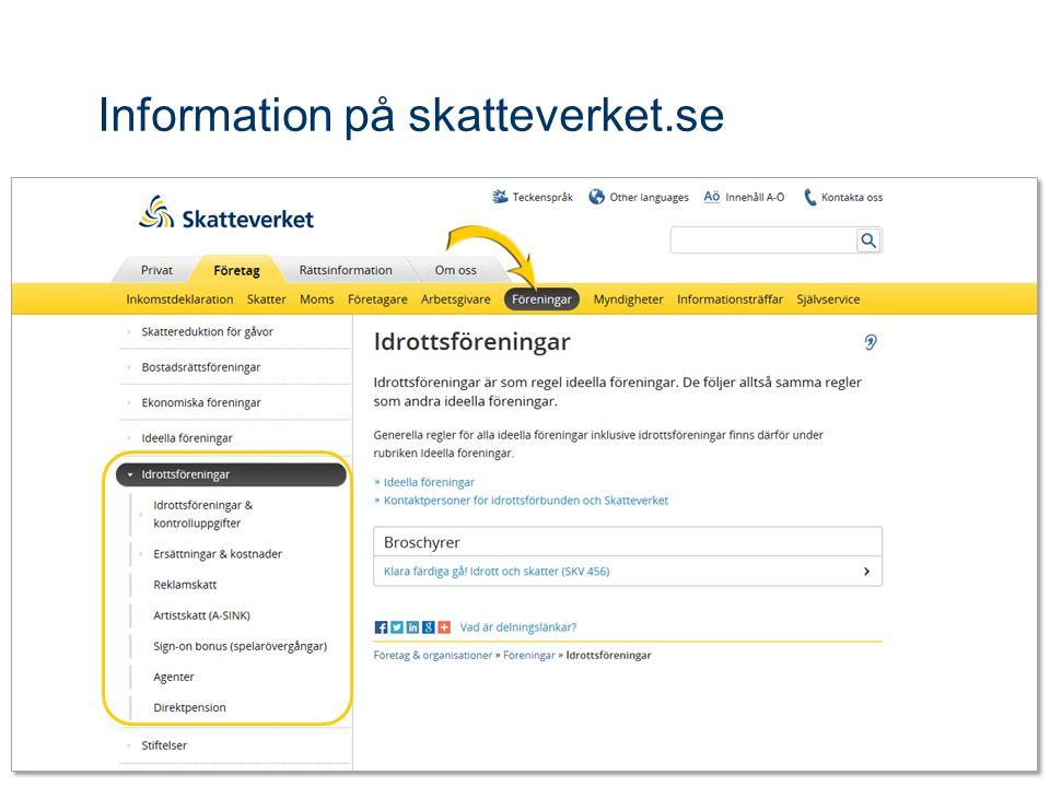 Information på skatteverket.se