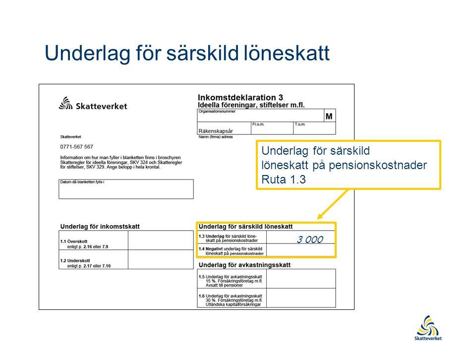 Underlag för särskild löneskatt på pensionskostnader Ruta 1.3 3 000 Underlag för särskild löneskatt