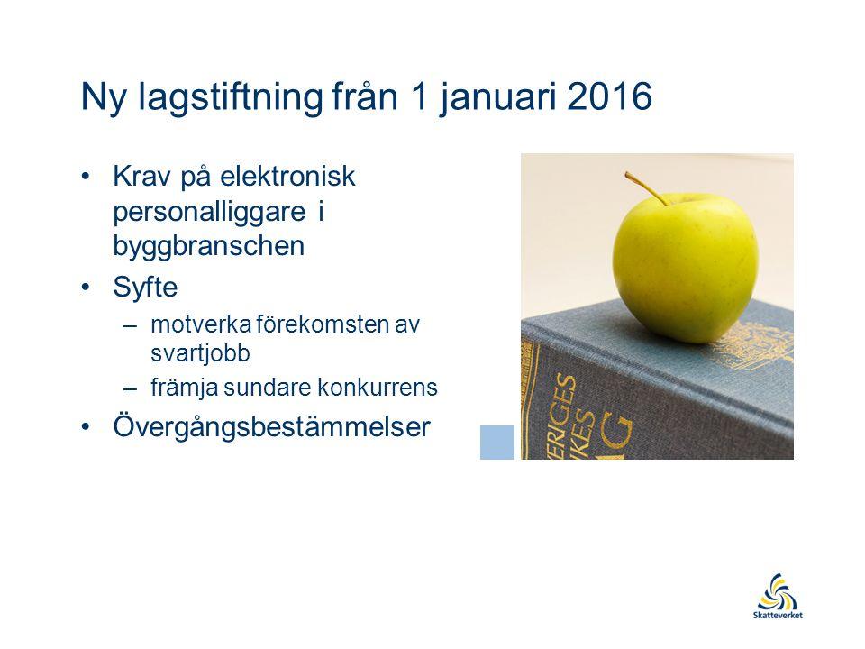 Ny lagstiftning från 1 januari 2016 Krav på elektronisk personalliggare i byggbranschen Syfte –motverka förekomsten av svartjobb –främja sundare konkurrens Övergångsbestämmelser