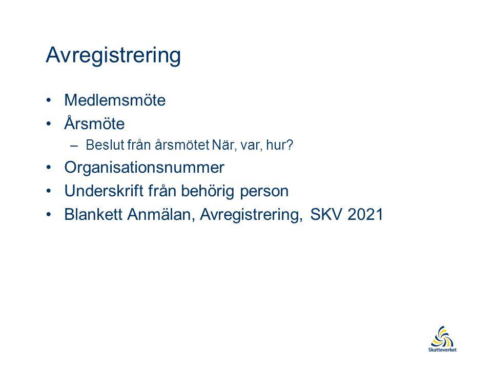 Avregistrering Medlemsmöte Årsmöte –Beslut från årsmötet När, var, hur.