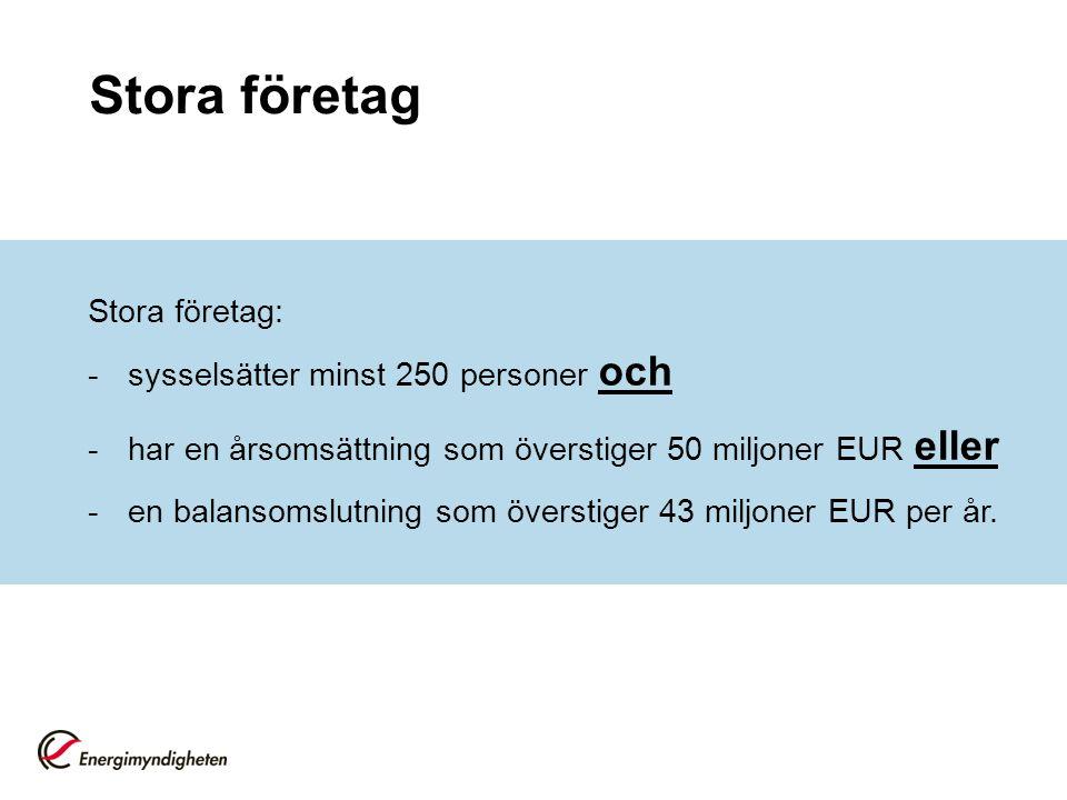 Stora företag Stora företag: -sysselsätter minst 250 personer och -har en årsomsättning som överstiger 50 miljoner EUR eller -en balansomslutning som överstiger 43 miljoner EUR per år.