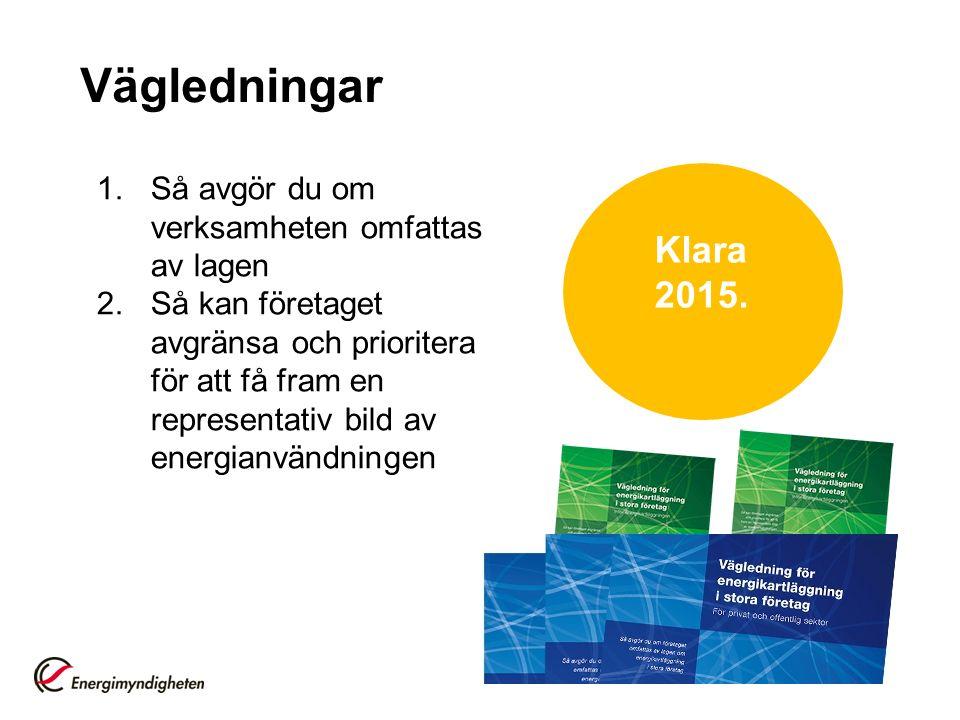 Vägledningar 1.Så avgör du om verksamheten omfattas av lagen 2.Så kan företaget avgränsa och prioritera för att få fram en representativ bild av energianvändningen Klara 2015.