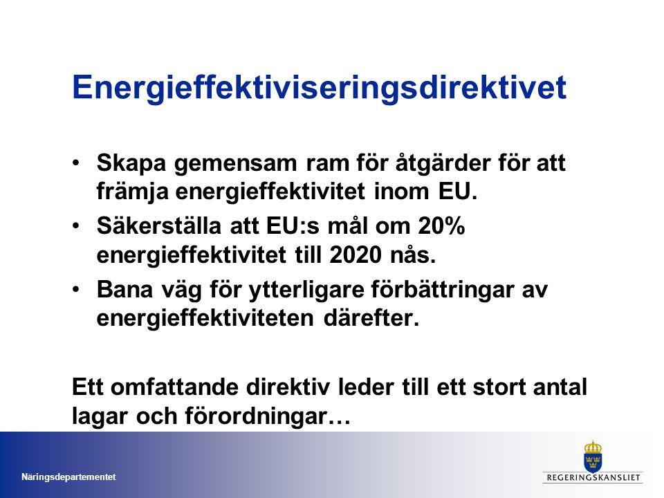 Näringsdepartementet Energieffektiviseringsdirektivet Skapa gemensam ram för åtgärder för att främja energieffektivitet inom EU.