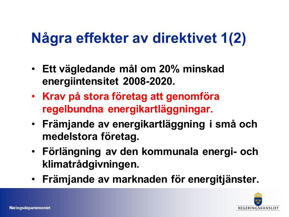Näringsdepartementet Några effekter av direktivet 1(2) Ett vägledande mål om 20% minskad energiintensitet 2008-2020.