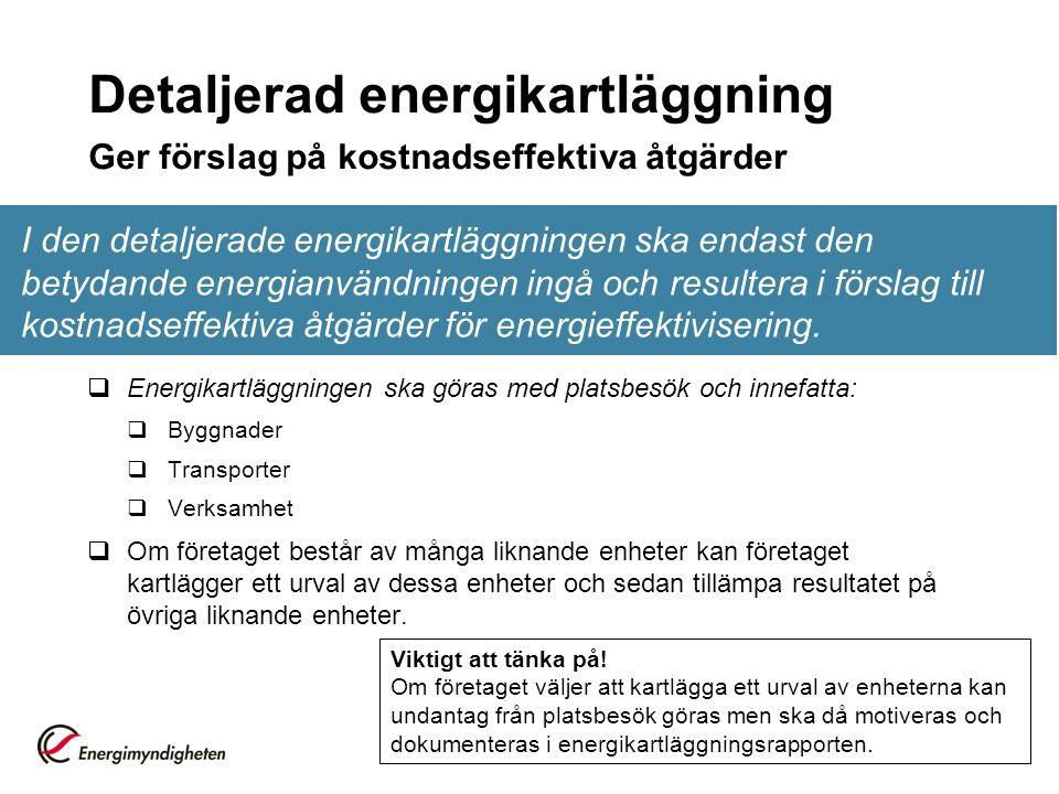Detaljerad energikartläggning Ger förslag på kostnadseffektiva åtgärder I den detaljerade energikartläggningen ska endast den betydande energianvändningen ingå och resultera i förslag till kostnadseffektiva åtgärder för energieffektivisering.
