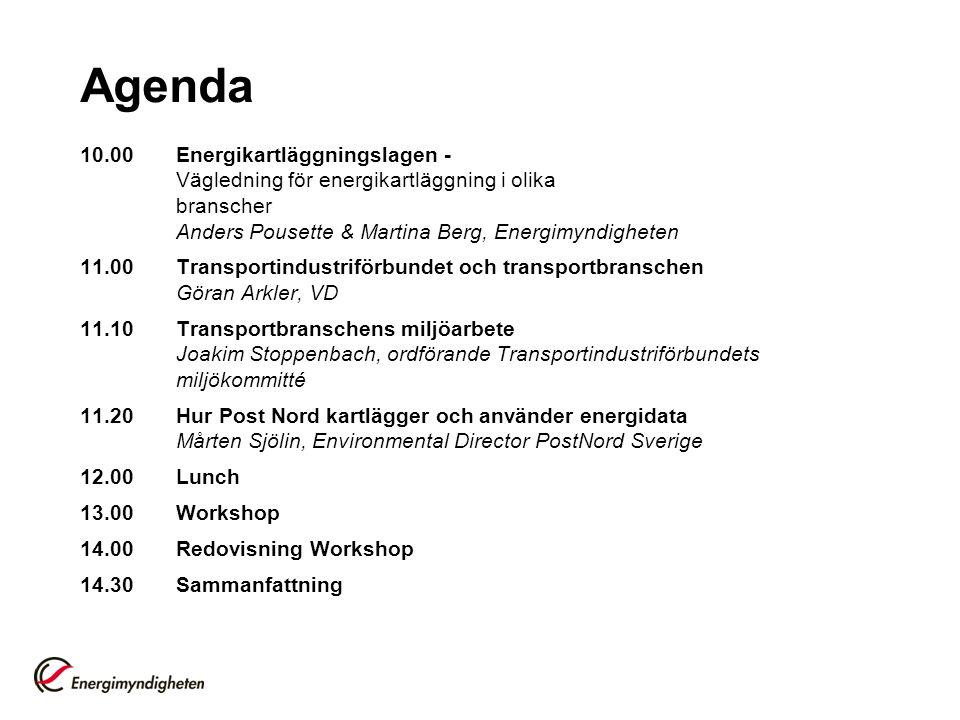 Agenda 10.00Energikartläggningslagen - Vägledning för energikartläggning i olika branscher Anders Pousette & Martina Berg, Energimyndigheten 11.00Transportindustriförbundet och transportbranschen Göran Arkler, VD 11.10Transportbranschens miljöarbete Joakim Stoppenbach, ordförande Transportindustriförbundets miljökommitté 11.20Hur Post Nord kartlägger och använder energidata Mårten Sjölin, Environmental Director PostNord Sverige 12.00Lunch 13.00Workshop 14.00Redovisning Workshop 14.30Sammanfattning