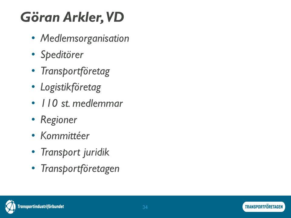 Göran Arkler, VD Medlemsorganisation Speditörer Transportföretag Logistikföretag 110 st.