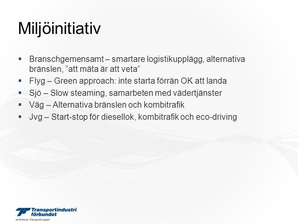 Miljöinitiativ  Branschgemensamt – smartare logistikupplägg, alternativa bränslen, att mäta är att veta  Flyg – Green approach: inte starta förrän OK att landa  Sjö – Slow steaming, samarbeten med vädertjänster  Väg – Alternativa bränslen och kombitrafik  Jvg – Start-stop för diesellok, kombitrafik och eco-driving