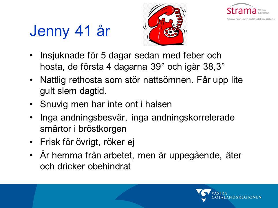 Jenny 41 år Insjuknade för 5 dagar sedan med feber och hosta, de första 4 dagarna 39° och igår 38,3° Nattlig rethosta som stör nattsömnen.