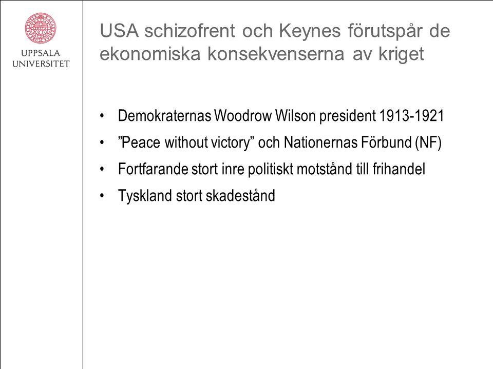"""USA schizofrent och Keynes förutspår de ekonomiska konsekvenserna av kriget Demokraternas Woodrow Wilson president 1913-1921 """"Peace without victory"""" o"""