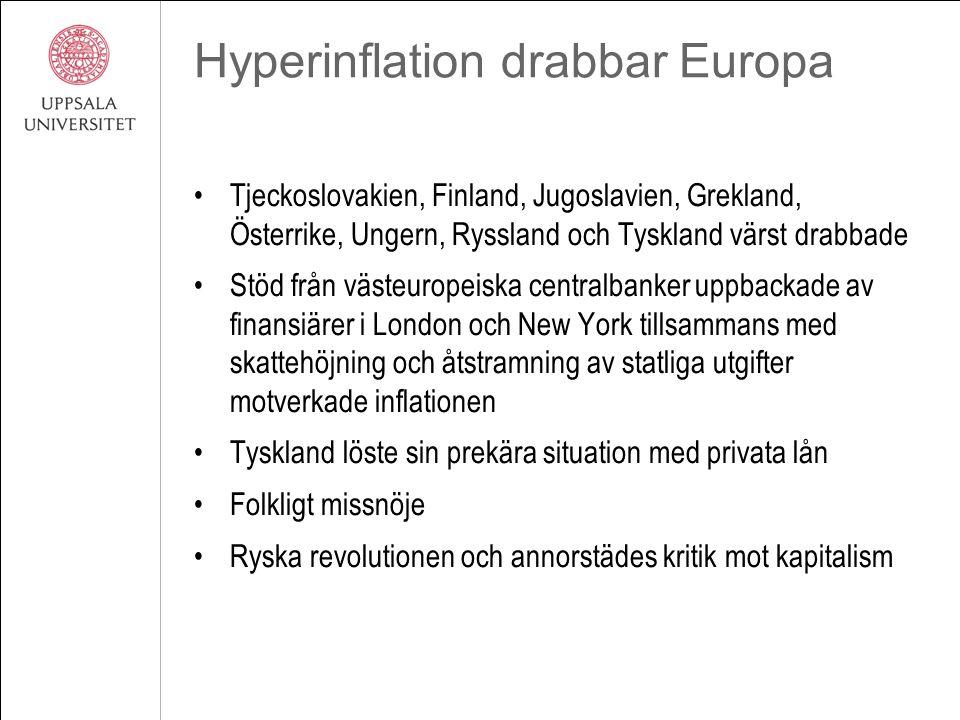 Hyperinflation drabbar Europa Tjeckoslovakien, Finland, Jugoslavien, Grekland, Österrike, Ungern, Ryssland och Tyskland värst drabbade Stöd från väste